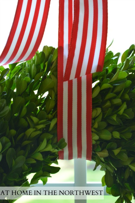 boxwood and striped ribbon  at home in the northwest