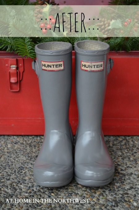 SPRAY PAINTED HUNTER BOOTS  AT HOME IN THE NORTHWEST