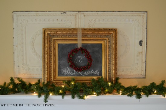 at home in the northwest mantel 2013  chalkboard frame with wreath