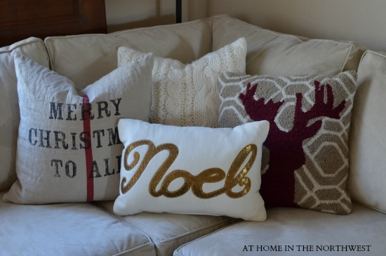 christmas pillows  at home in the northwest