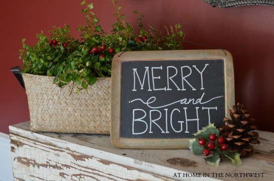 merry and bright chalkboard  at home in the northwest