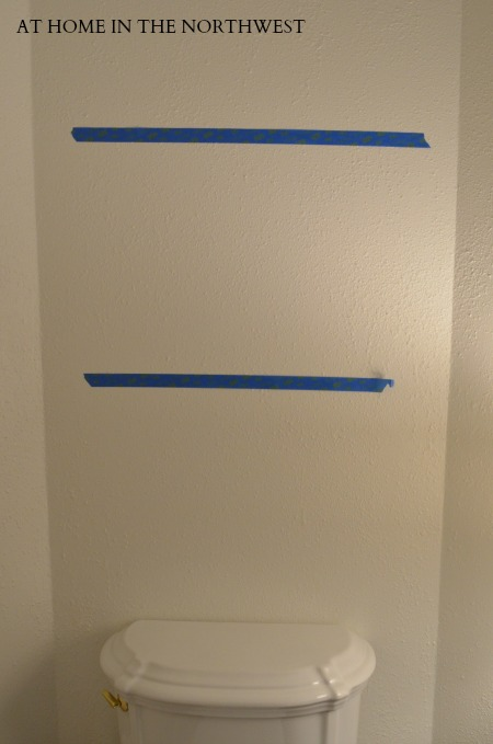 painters tape as shelf guide