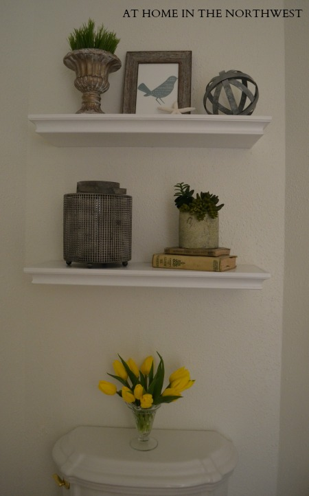 powder room reveal shelves 2  at home in the northwest blog