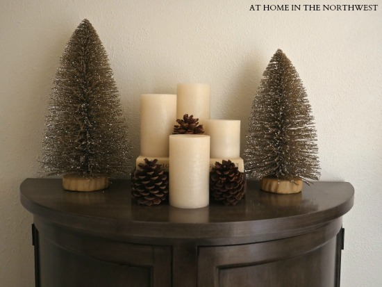 BOTTLE BRUSHES, CANDLES AND PINE CONES