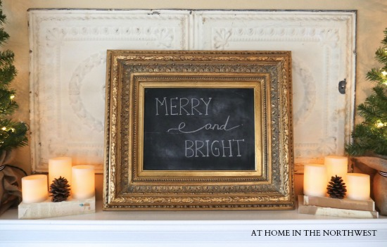 MANTLE merry and bright chalkboard
