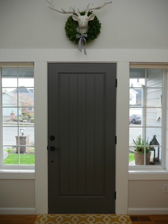 painted front door with benjamin moore kendall charcoal - at home in the northwest blog
