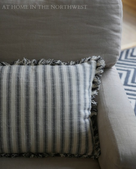 world market black and cream stripe pillow close up