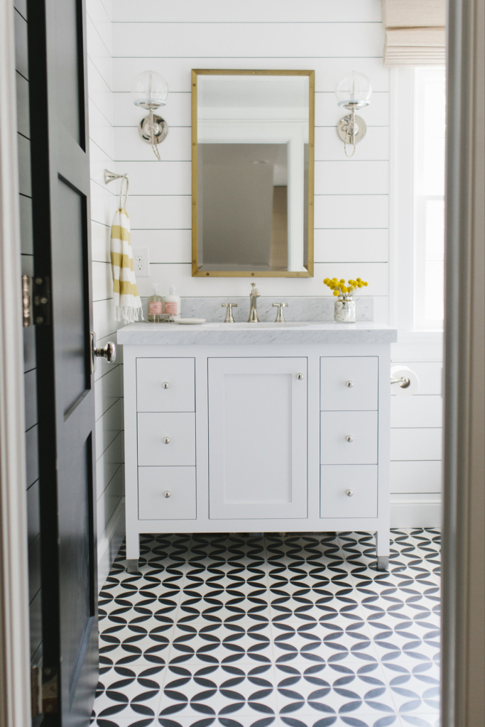 Cement+tile+and+Shiplap+Bathroom+by+Studio+McGee