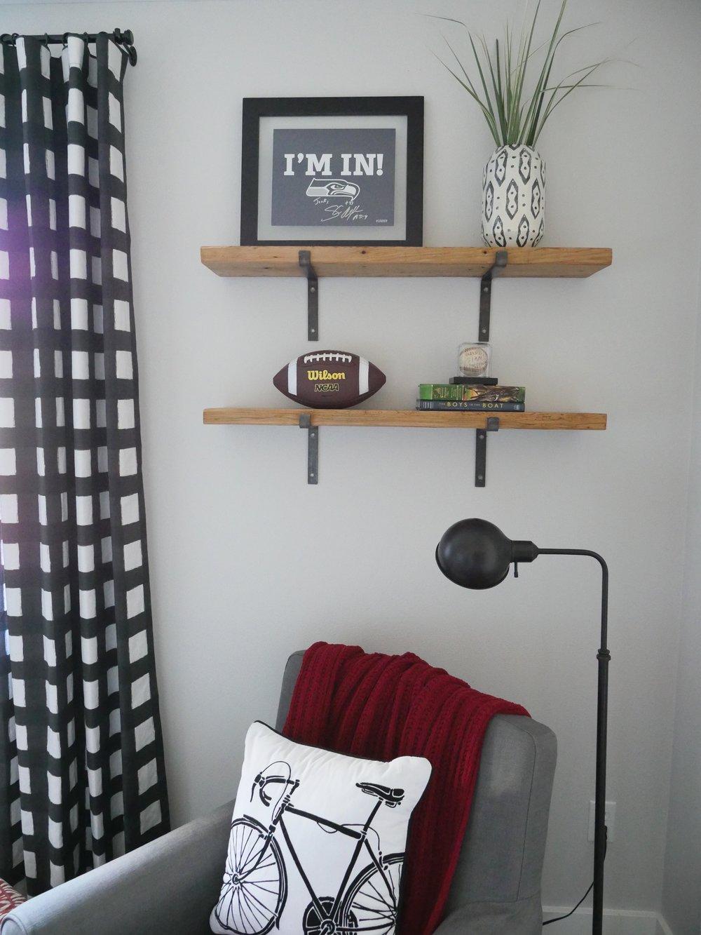 Jen Gilday Interiors - Teen Boys Room After chair and shelves