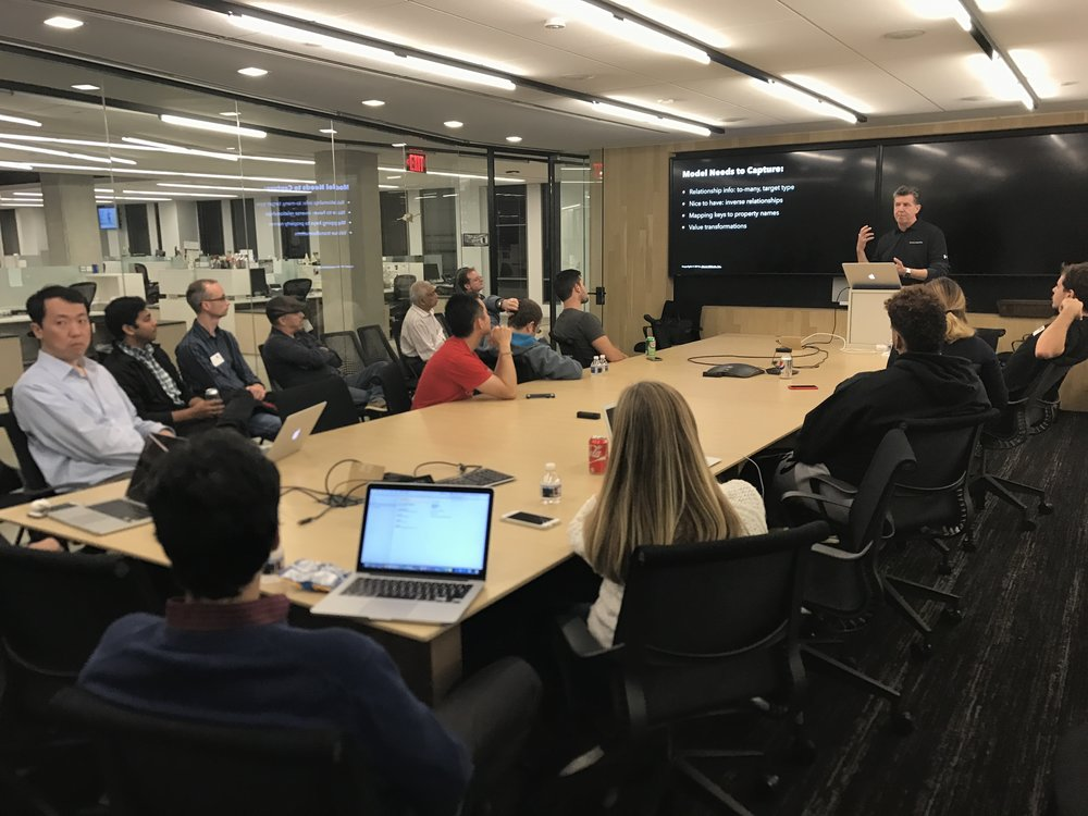 post office in washington dc giving a talk on streamlining json mapping to an audience of local developers like many great user group meetings