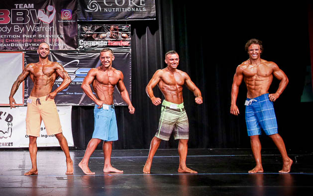 The pretty boys have it : a typical line-up in a drug-tested event has men's physique competitors who often look equivalent to contest-winning drug-tested bodybuilders.