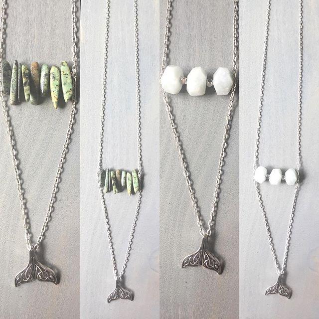 Mermaid necklaces 🌊🐠 . . . #mermaid #gemstonejewelry #beachjewelry #fallfashion2016 #handmade #necklace #tail #unique