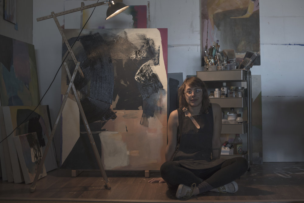 Russell in her studio. Image courtesy of the artist, taken by Justus Phoehls.