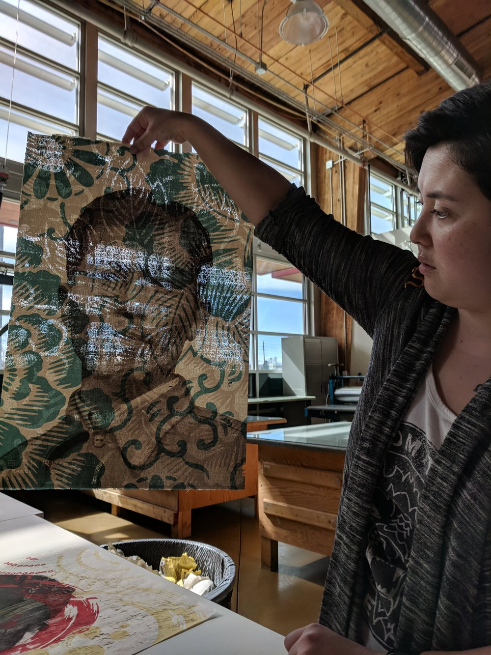 Fukami showing her newest iteration of laser cut prints. Image by Drew Austin