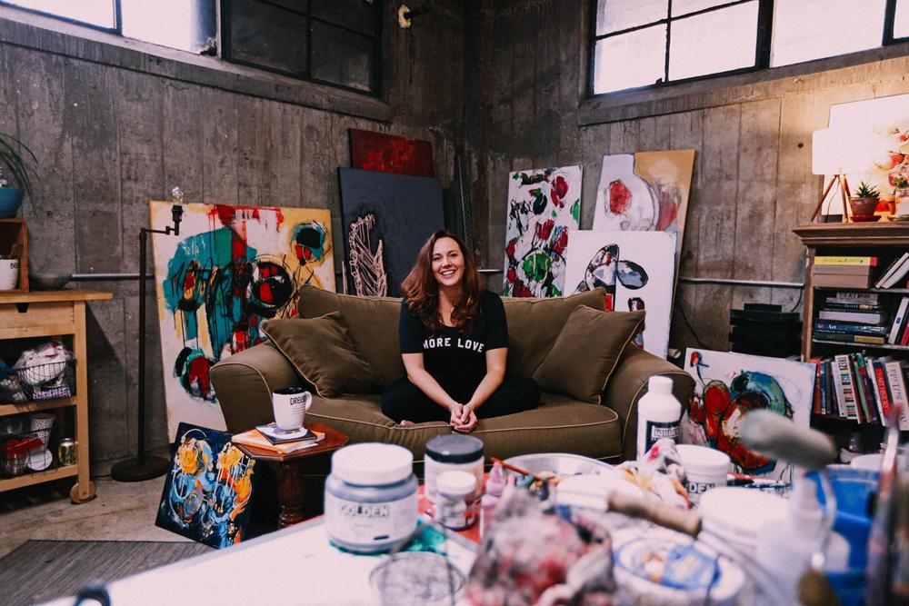 Angela Craven in her studio. Image courtesy of the artist.
