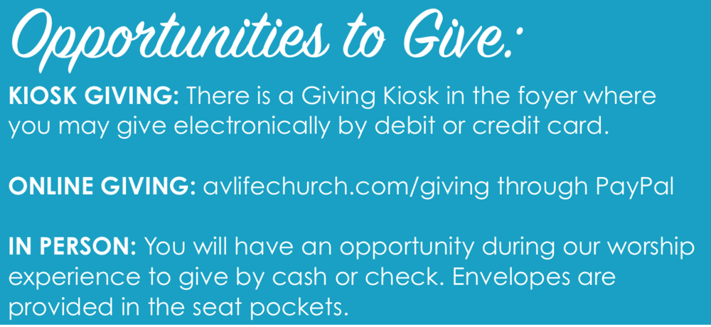 Giving Opportunities - Click here to give online: Giving