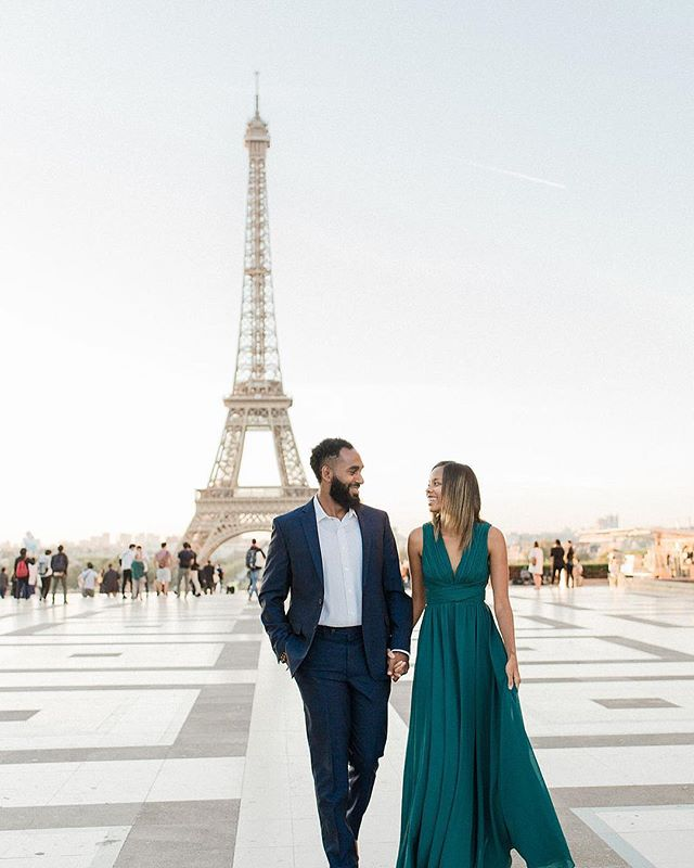 Well look at this! We had a mini get away to Paris and had some engagement photos taken by @nicolejansma! Mohamed and I both love Paris from previous trips but this was our first time there together. I have been in front of the camera way more than behind it since getting engaged! It's so awkward lol! I had a great time twirling in my emerald dress from @lulus 😍 #newsharifintown