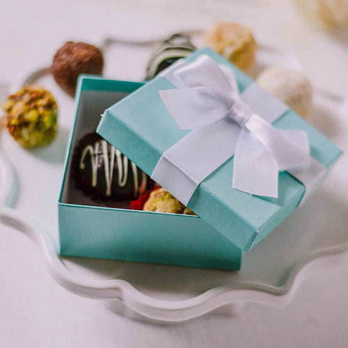 25x bridal shower turquoise favor boxes with pre tied ribbon