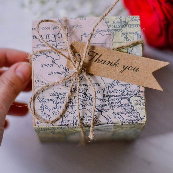 TRAVEL THEME PARTY FAVOR BOXES - VINTAGE MAP AND AIRMAIL FAVOR BOXES MORE