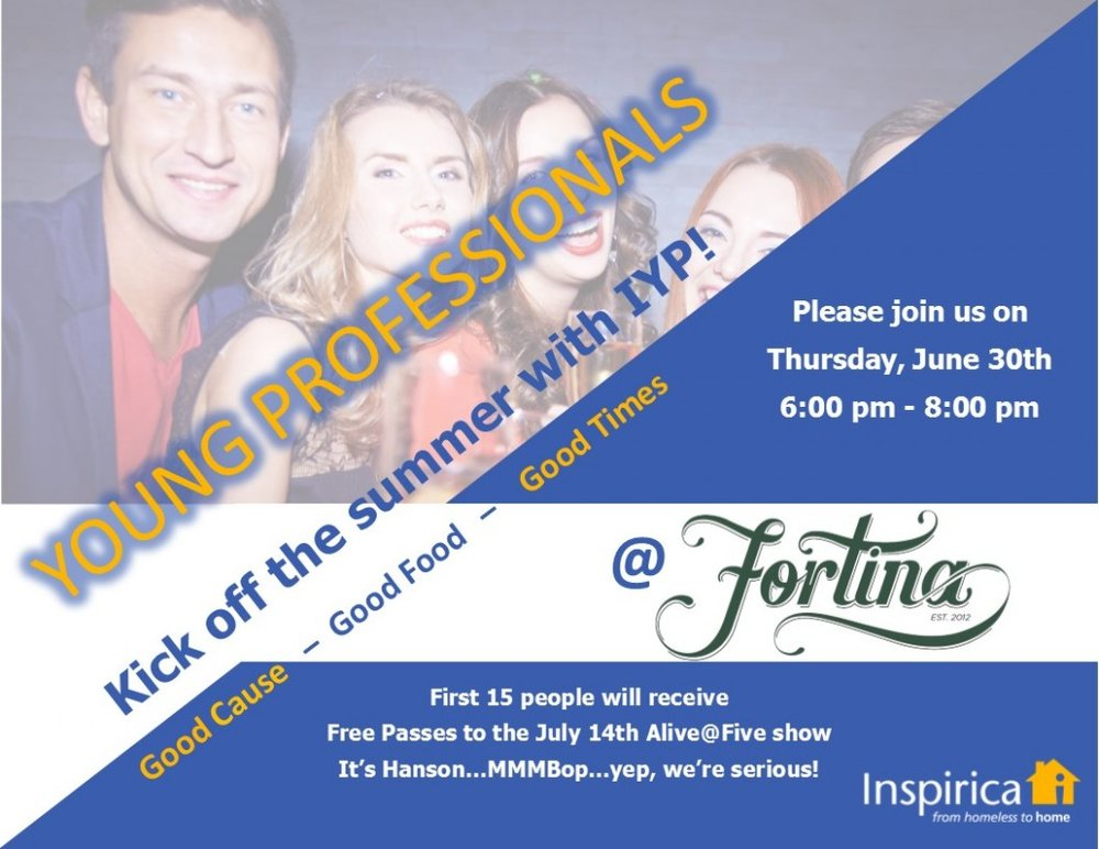 CALLING ALL YOUNG    PROFESSIONALS!   If you're between the ages of 22-35, work in Stamford area, and want to make a difference in the community, Inspirica Young Professionals (IYP) wants YOU to join us at Fortina's rooftop on Thursday, June 30, 2016 for our summer kickoff!
