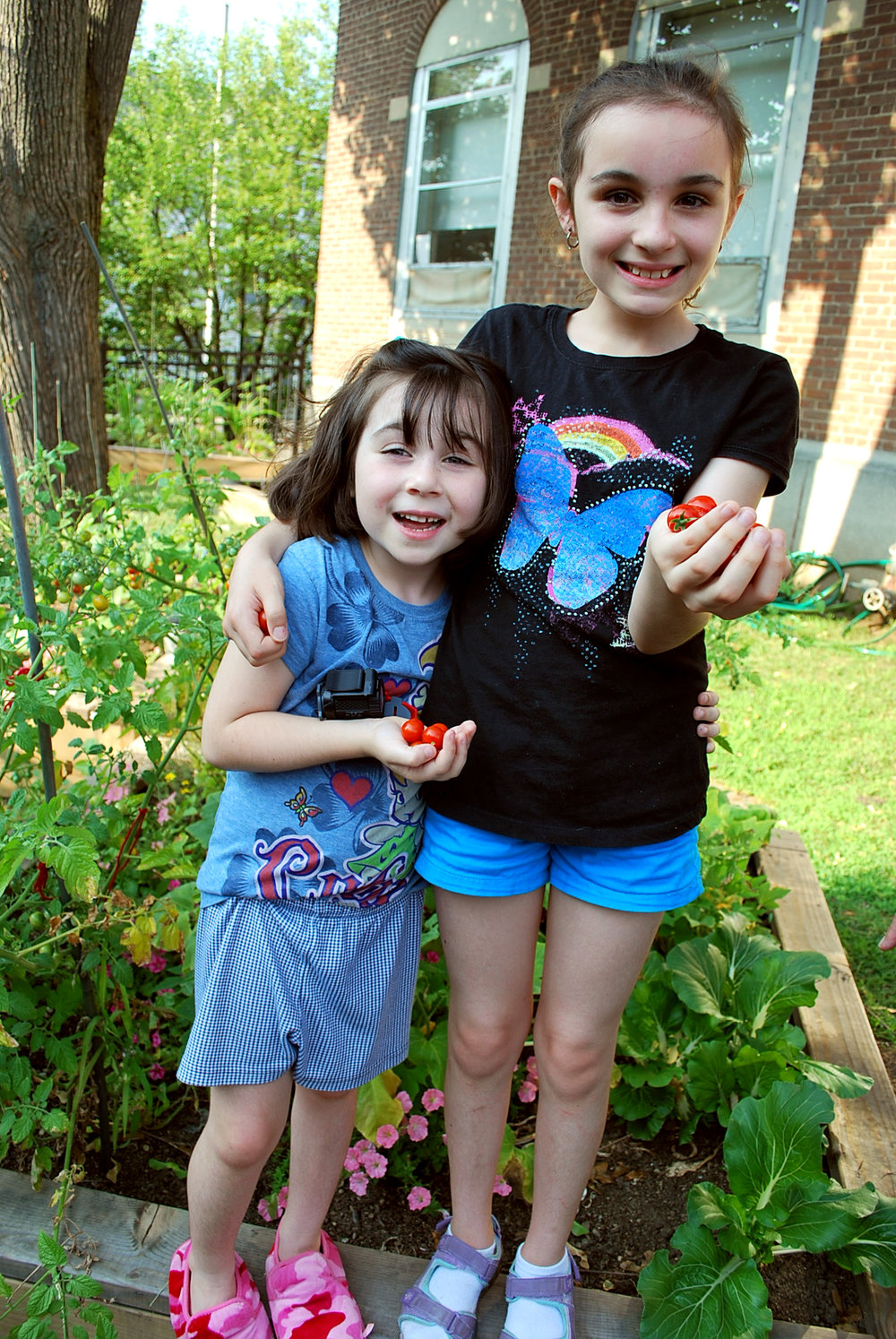 2012 July Leia and Elle in garden with veggies 006.jpg