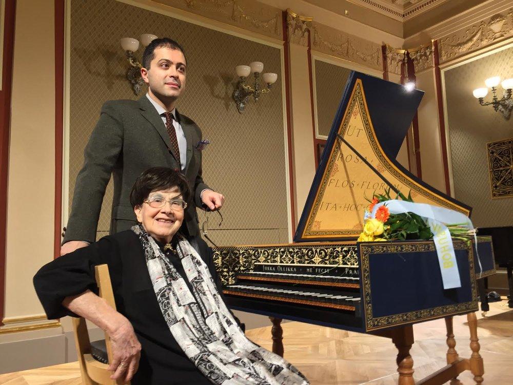 Zuzana Růžičková and her student Mahan Esfahani together at the harpsichord