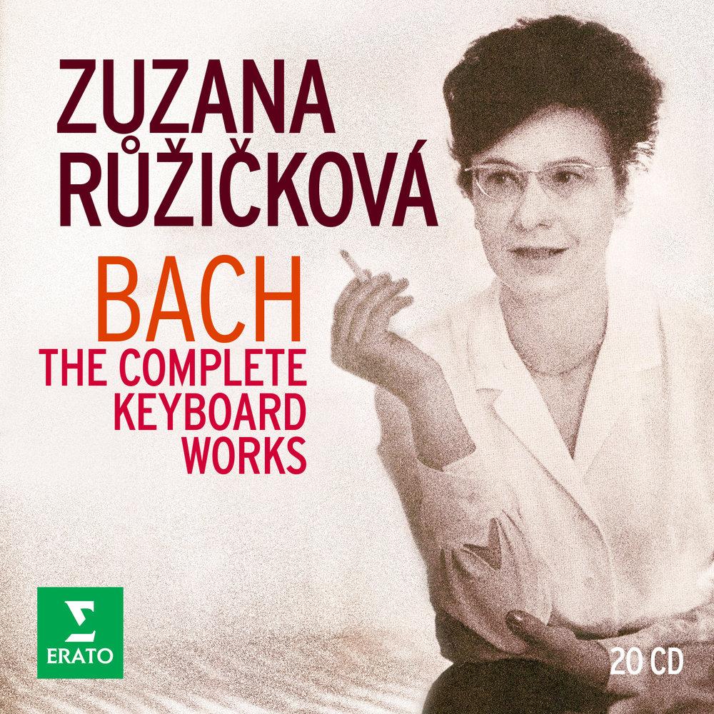 Cover art for Warner Classic's re-issued box set of Zuzana Růžičková´s complete Erato recordings of Johann Sebastian Bach. Remastered by Warner Music