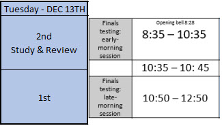 DECEMBER 13th FINALS Schedule