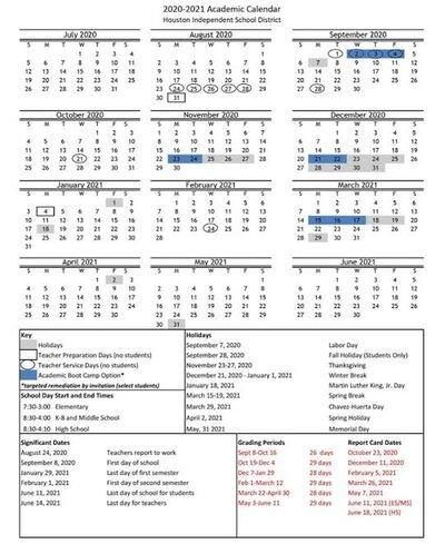 Hisd 2022 Calendar.Updated Calendar For 2020 2021 Heights High School