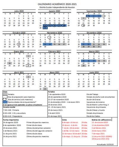 Updates to HISD calendar — Heights High School