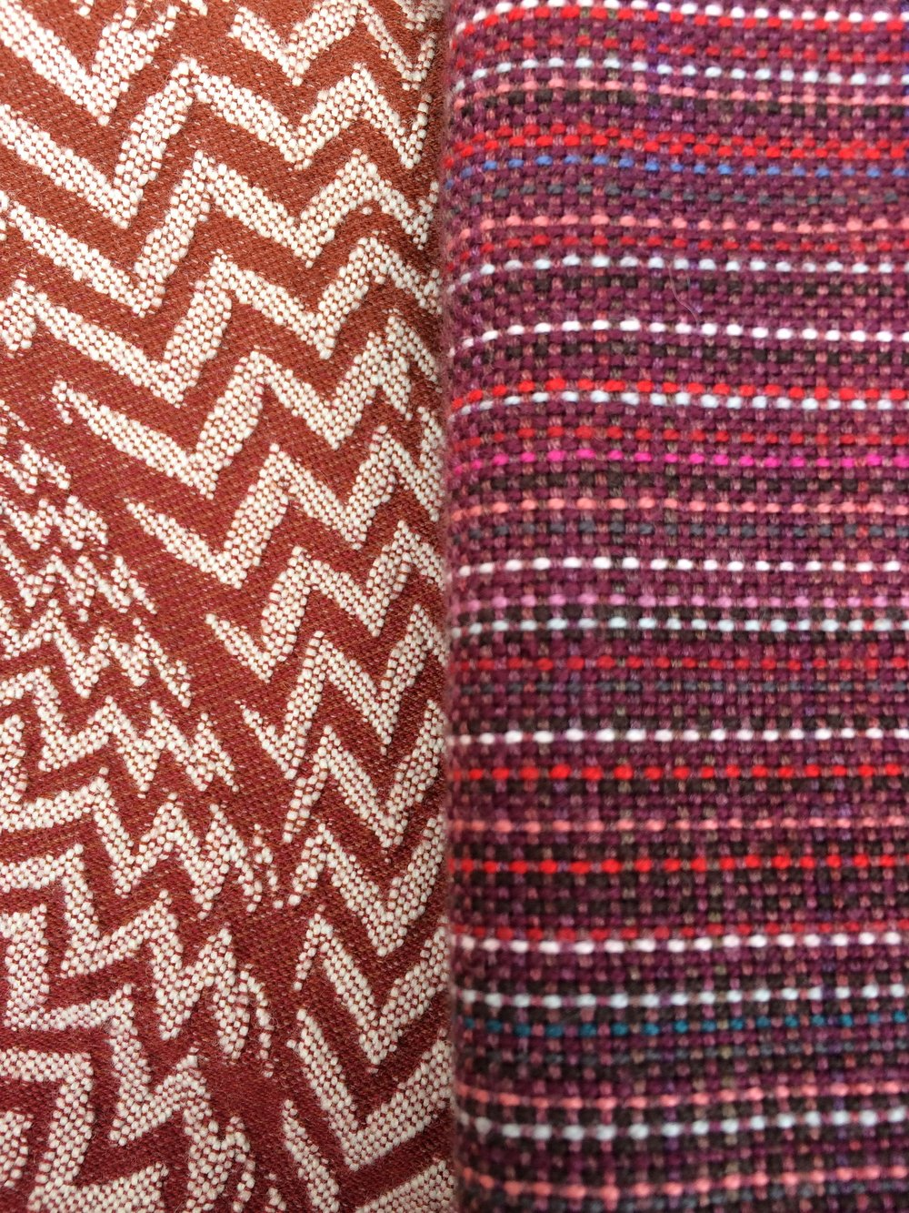 A tight, dense machine weave (left) next to a looser weave handwoven (right).