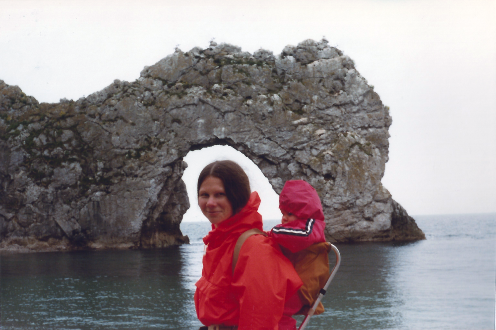 Mum & me at Durdle Door circa 1979