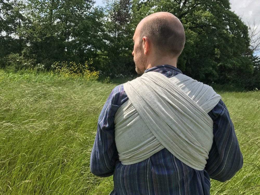 Daddy wearing Firespiral Slings' Serendipity baby wrap