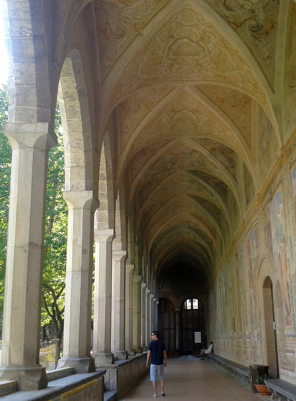 Frescoes on the walls around the cloister.