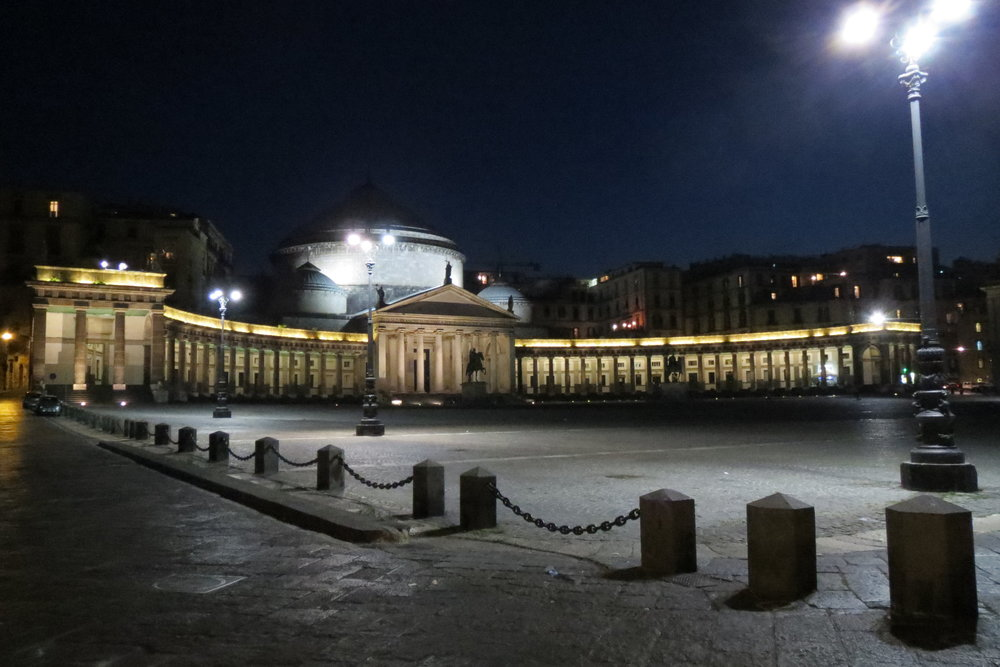 Piazza Plebiscito facing the San Francesco and Paola church, inspired by the Pantheon and Saint Peter church in Rome.