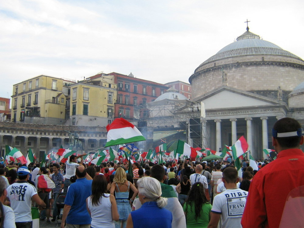 Piazza Plebiscito during the final of the World Cup in 2006 when Italy won againsT France.