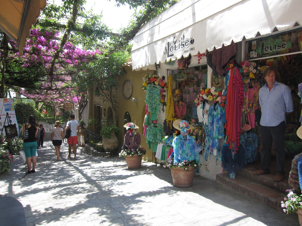 Shops in the narrow streets.