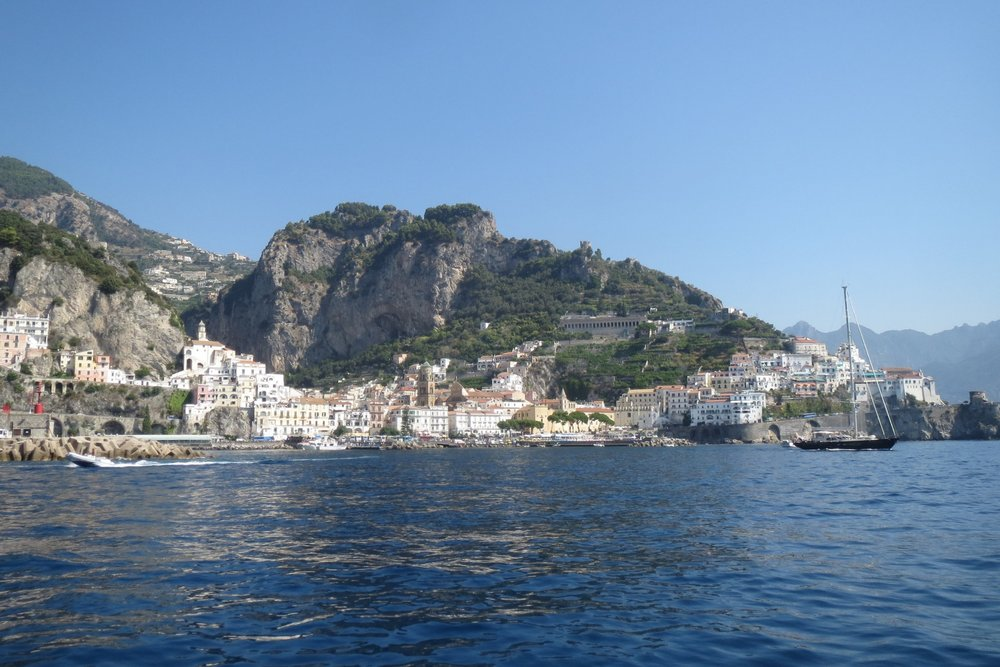 The town of Amalfi from the sea.