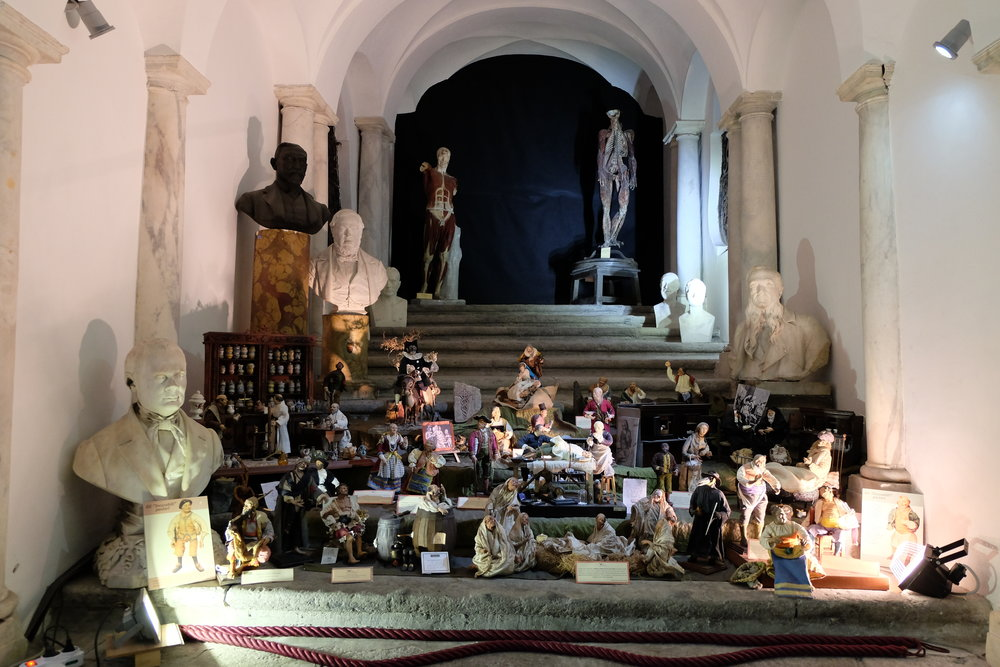 Presepe display of doctors and in the background, the model of the human body.