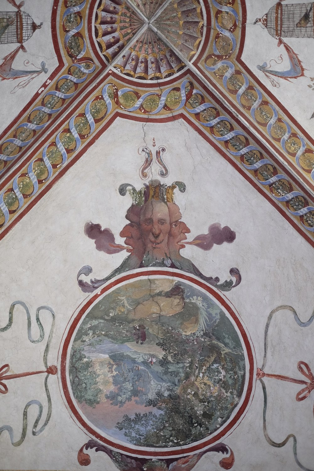 Fresco detail, with nature and masonic symbols.