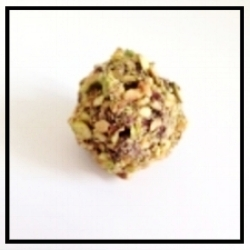 PISTACHIO   Crushed pistachios combined with chocolate ganache, coated in crushed pistachios