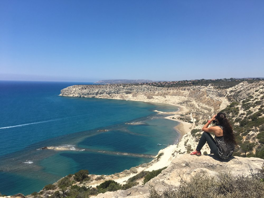 Looking at the grifon vulture nest in the cliffs at Limassol