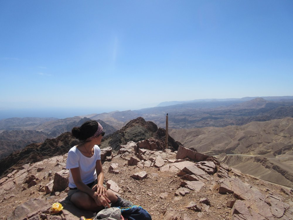 Ana during a day off on Shlomo Mt, the Sinai peninsula in the background.