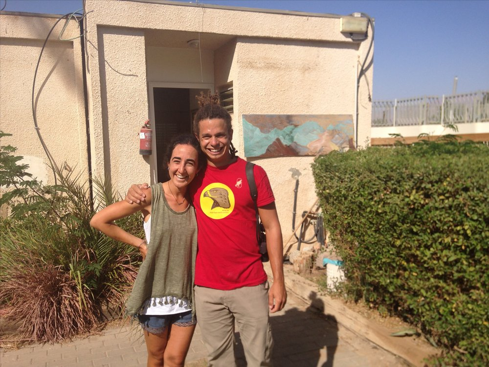 Ana with Re'a in front of the Field House on her last day in Eilat.