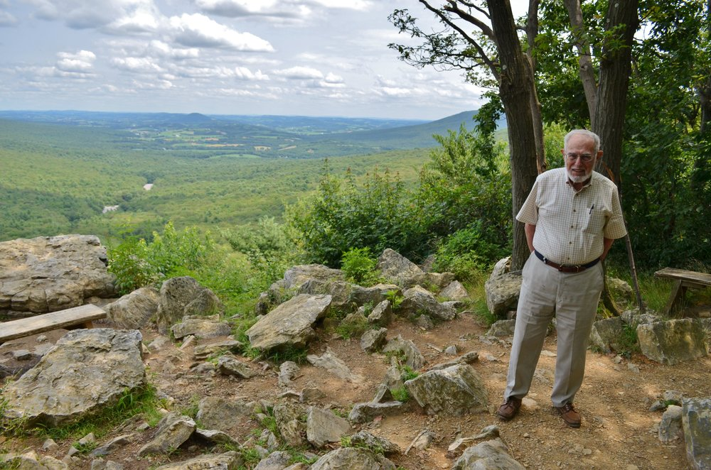 Cyrus at Hawk Mountain's South Lookout, which is ADA-accessible via the Silhouette Trail.