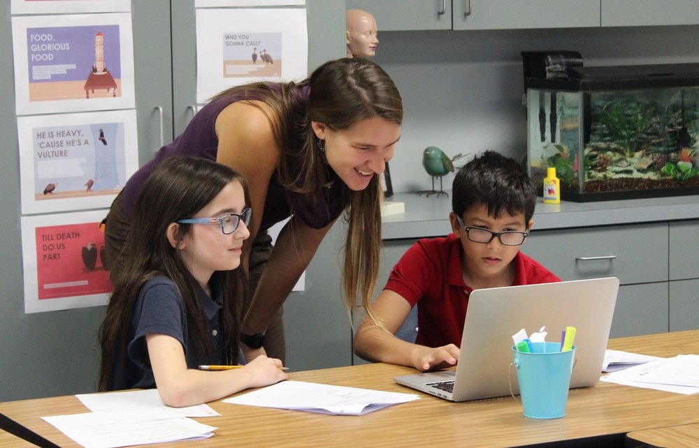 Zoey working with students from the Swain School in Allentown, PA on the newly developed HMS Black Vulture curriculum.