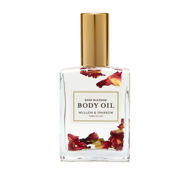 Mullein Sparrow rose blossom body oil bleu garters bridal garters