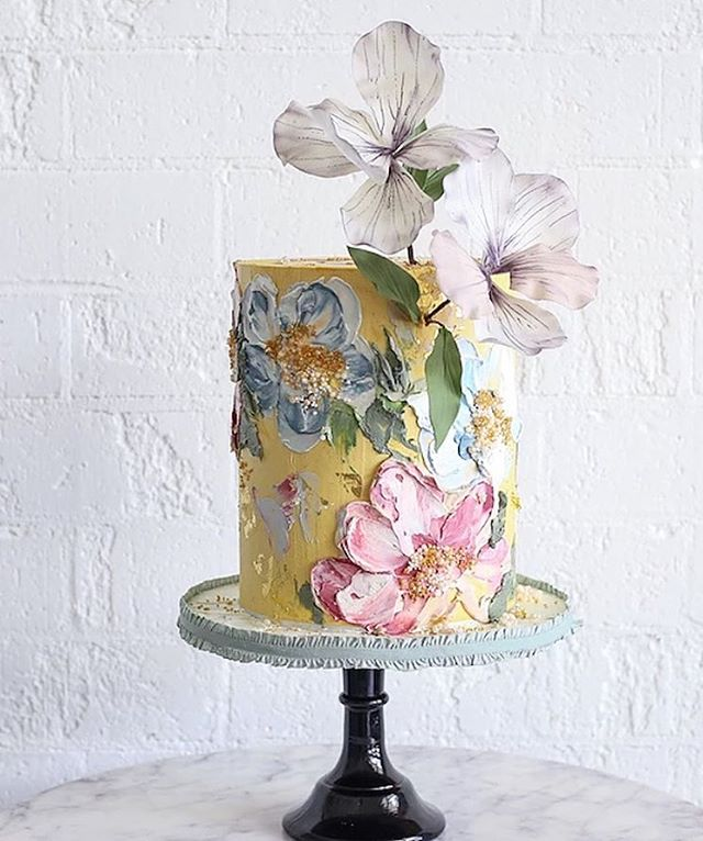 """Spring"", 2019. Oil on canvas.  Except oil = buttercream. Also except canvas = cake.  If anyone knows the artist that decorated this cake, lmk!"