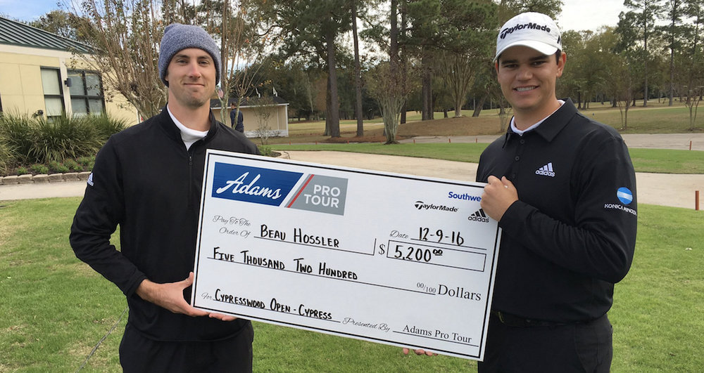Beau Hossler records his first professional victory, on Adams Pro Tour. Click Here to read the article.