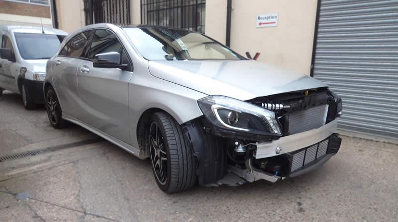 mercedes front bumper damage